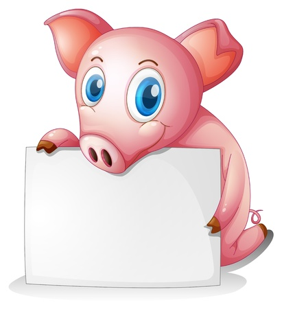 Illustration of a pig holding an empty signage on a white background Illustration