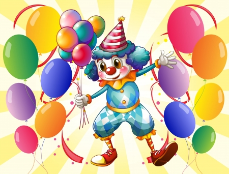 Illustration of a clown holding balloons Vector