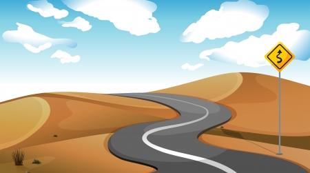 roadtrip: Illustration of a narrow road at the desert