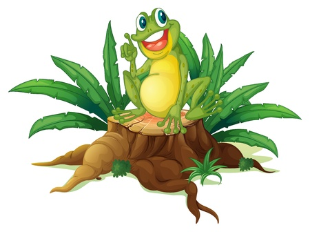 rana venenosa: Ilustración de un árbol con una rana sobre un fondo blanco Vectores