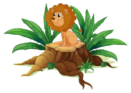 Illustration of a little lion sitting above the wood on a white background Vector