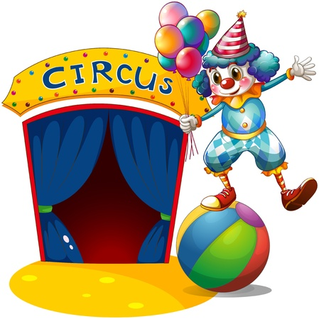 Illustration of a clown with balloons balancing above a ball on a white background