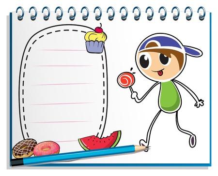 흰색 배경에 롤리팝 사탕을 먹는 소년의 드로잉과 함께 노트북의 그림 일러스트