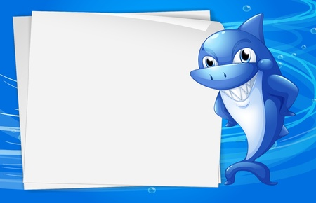 writing materials: Illustration of a blue shark beside an empty paper under the water