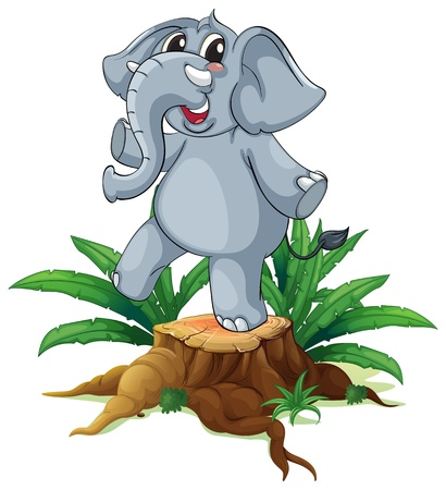timber cutting: Illustration of a tree with a young gray elephant on a white background