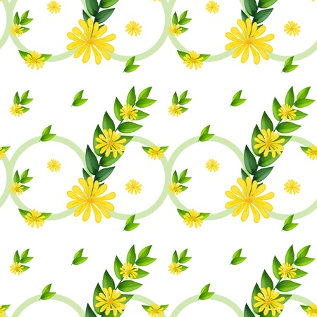 beautify: Illustration of a template with yellow flowers on a white background Illustration