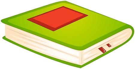 historias biblicas: Ilustración de un libro verde sobre un fondo blanco