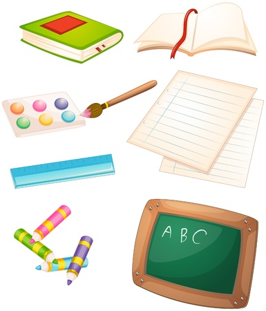Illustration of the different things used in the school on a white background Stock Vector - 19301464