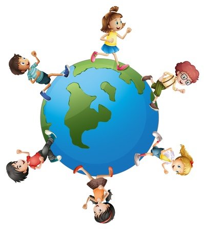 children circle: Illustration of the six kids walking around the planet earth on a white background