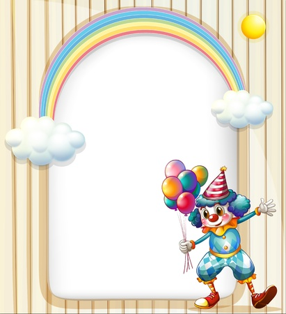 oblong: Illustration of an empty surface with a clown holding balloons