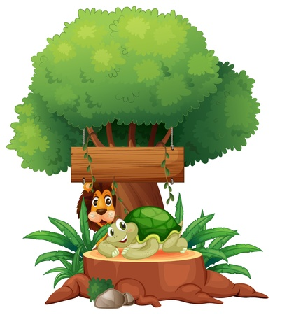 Illustration of a turtle and a lion under the tree with a wooden signboard on a white background Stock Vector - 19301665
