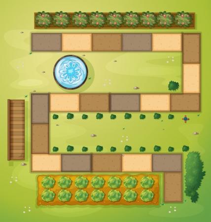 garden fountain: Illustration of an aerial view of a garden