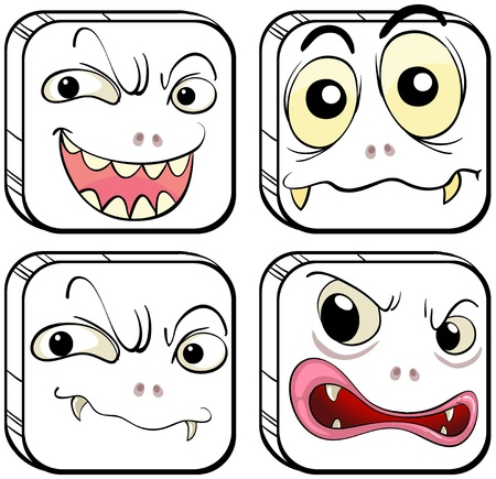 emote: Illustration of the four scary monsters on a white background