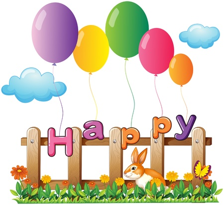 garden fence: Illustration of a rabbit in the garden with balloons on a white background