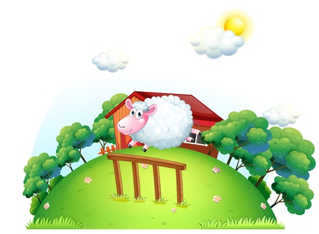 Illustration of a sheep at the barnyard on a white background Vector