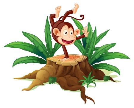 Illustratie van een boom met een speelse aap op een witte achtergrond Vector Illustratie