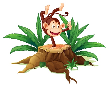 Illustration of a tree with a playful monkey on  a white background Vector
