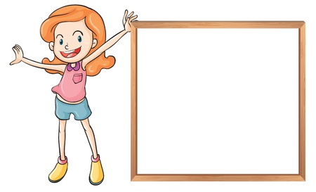 Illustration of a girl holding an empty wooden blank board on a white background  Vector