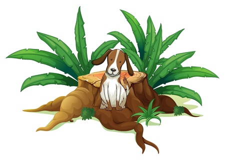 chopped: Illustration of a dog sitting at the root of a chopped tree on a white background