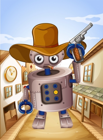 Illustration of a robot wearing a hat and holding a gun Stock Vector - 19301709