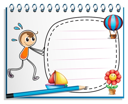 Illustration of a notebook with a drawing of a boy pushing the empty signage on a white background Vector