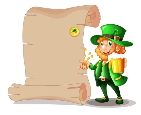 feast of saint patrick: Illustration of a man holding a glass of beer with a long paper on a white background