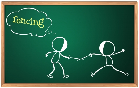 fencing: Illustration of a blackboard with a drawing of two boys fencing on a white background Illustration