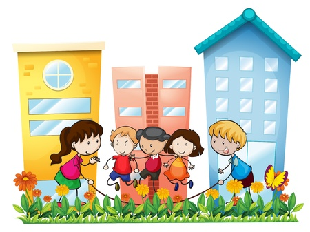 playtime: Illustration of the kids playing outside the building on a white background Illustration