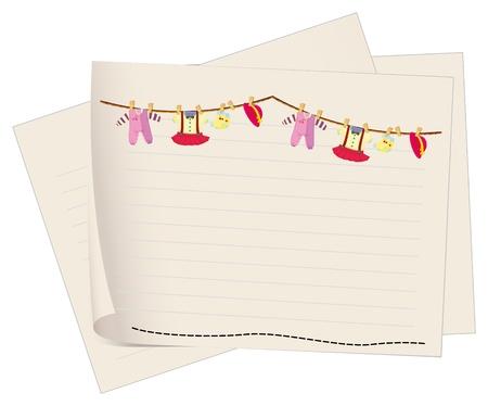 fondo para bebe: Ilustraci�n de un papel con un dibujo de la ropa colgada de los beb�s en un fondo blanco Vectores