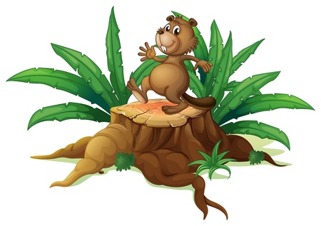 Illustration of a tree with a playful beaver on a white background Vector
