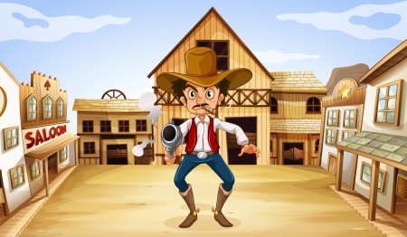 Illustration of an armed man near the saloon Vector