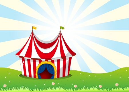 show plant: Illustration of a circus tent at the top of the hill
