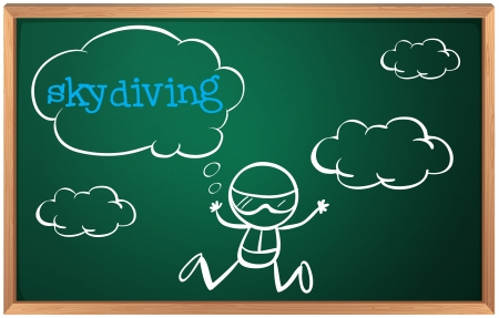 sky dive: Illustration of a blackboard with a drawing of a boy sky diving on a white backgorund