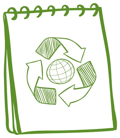 Illustration of a green notebook with a drawing of the recycle symbol on a white background Vector