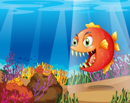 Illustration of a piranha in the sea with corals  Vector