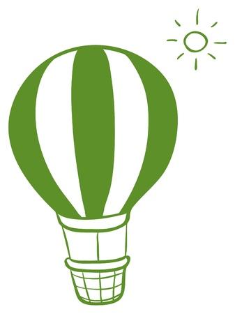 Illustration d'un ballon à air chaud et un soleil sur un fond blanc Vecteurs