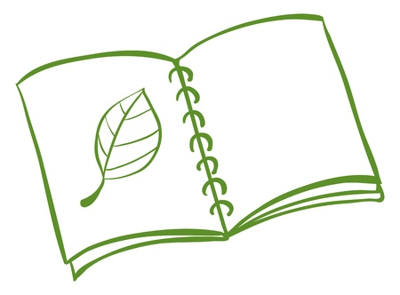 Illustration of a notebook with a drawing of a leaf on a white background Stock Vector - 19301241