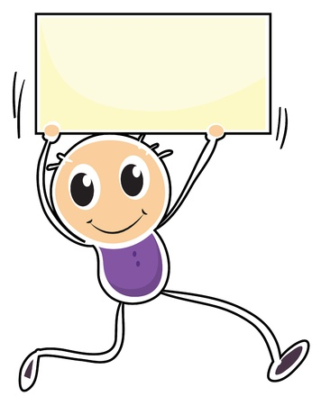quadrilateral: Illustration of a boy holding an empty signage on a white background