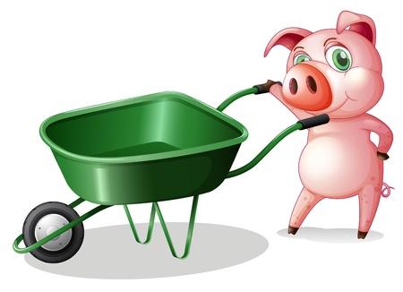 Illustrazione di un maiale con una carriola su uno sfondo bianco Vettoriali