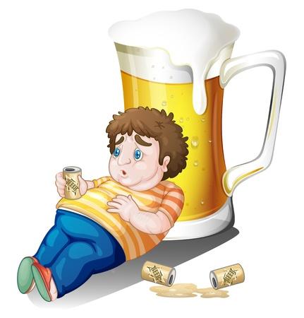 alcoholist: Illustratie van een dikke jongen met blikjes bier in de buurt van een groot glas op een witte achtergrond