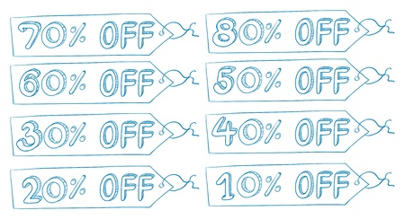 cheaper: Illustration of the discount price tags on a white background  Illustration
