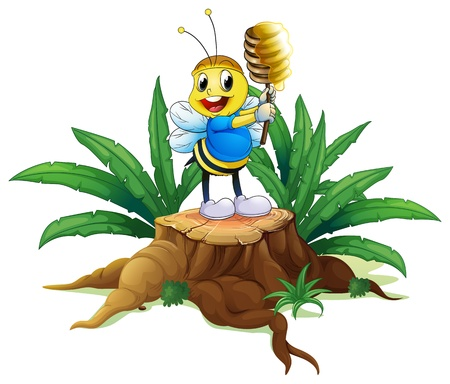 timber cutting: Illustration of a bee holding a honey above the wood on a white background Illustration