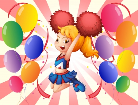 balloon woman: Illustration of a cheerleader with her red pompoms Illustration