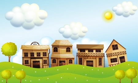 Illustration of the four different kinds of wooden house Vector