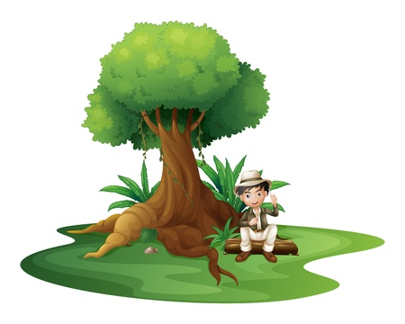 old man sitting: Illustration of a boy sitting under the big tree on a white background