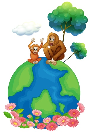 big and small: Illustration of a small and a big orangutan sitting above the planet earth on a white background