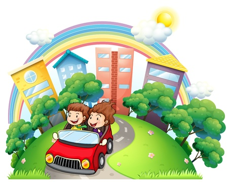 establishments: Illustration of a girl and a boy riding at the car along the road on a white background Illustration