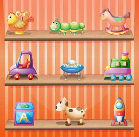 wooden shelves: Illustration of the three wooden shelves with toys