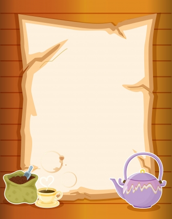 melaware: Illustration of a paper with coffee and a kettle Illustration