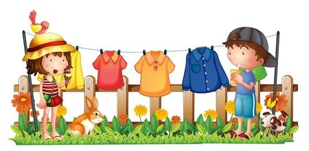 kid eat: Illustrazione di una ragazza e un ragazzo in giardino con i vestiti appesi su uno sfondo bianco
